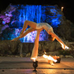 Female Fire Acro Duo act The Falls Event center in Gilbert for LASH FX International 2018. Book through Jessica Packard Entertainment.